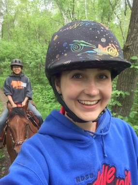 My mom and I enjoy the trails at 4-H horse camp.